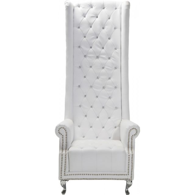 Karedesign Fauteuil Queen velours blanc Kare Design