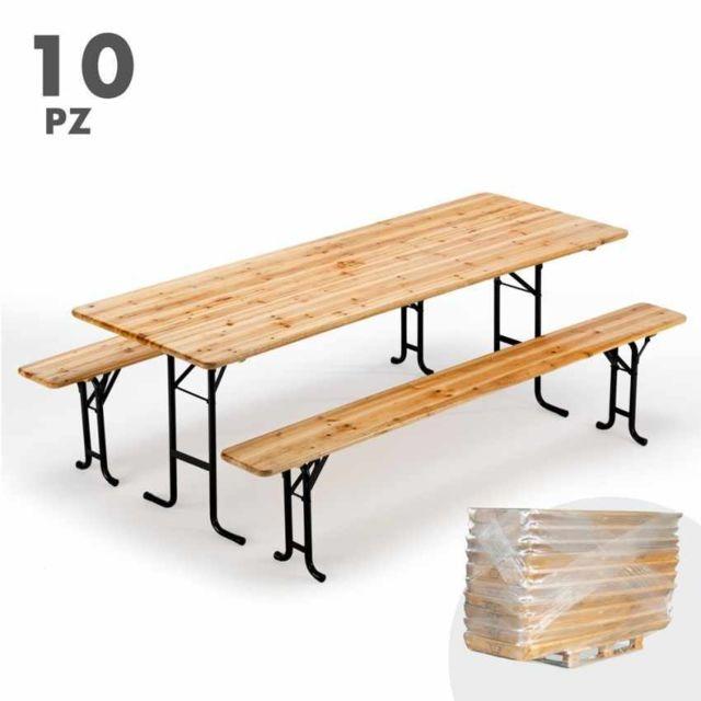 Wood Decor Table de brasserie bancs en bois pliant