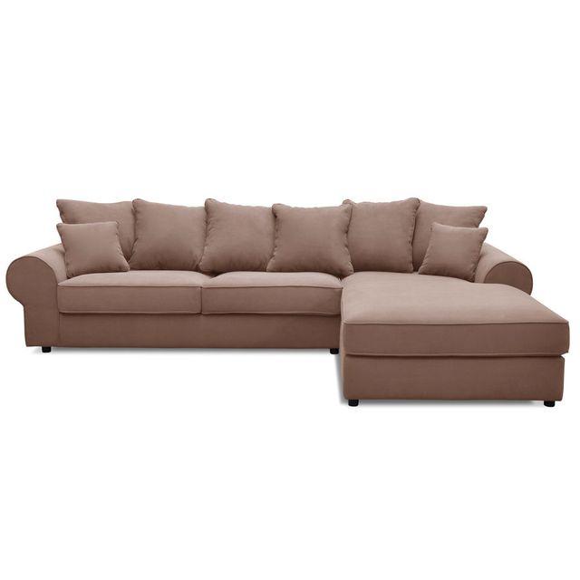 Marque Generique - Canapé d'angle fixe en tissu et ses coussins décoratifs Halgen - Taupe - Droit 0cm x 0cm x 0cm - Nc