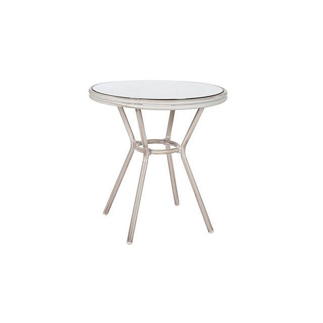 Table ronde 70diam en verre et aluminium gris