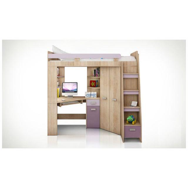 HOUSE AND GARDEN Lit violet Young droite avec rangements