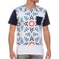 French Kick - Tee-shirt homme blanc imprimé graphique et poche poitrine