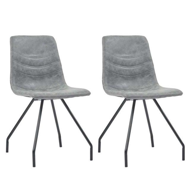 Stylé Fauteuils et chaises ligne Sanaa Chaises de salle à manger 2 pcs Gris foncé Similicuir
