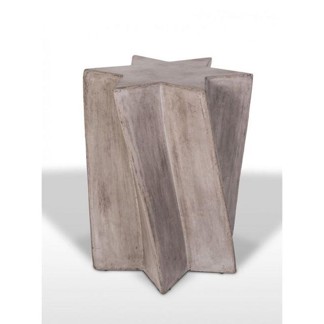 Meubletmoi Sellette décorative en béton au design étoile - bout de canapé