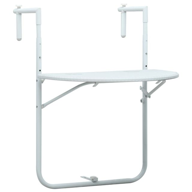 Vidaxl Table de balcon Blanc 60x64x83,5 cm Plastique Aspect de rotin