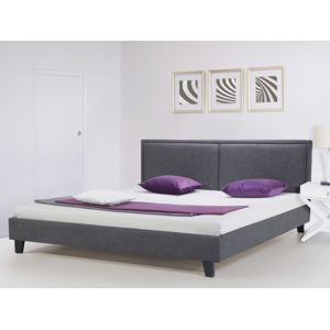 beliani lit en tissu lit double 160x200 cm gris sommier inclus revel pas cher achat. Black Bedroom Furniture Sets. Home Design Ideas