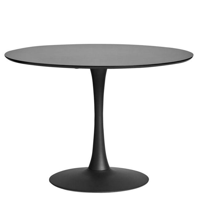 Tousmesmeubles Table de repas ronde Noire pied central - Still