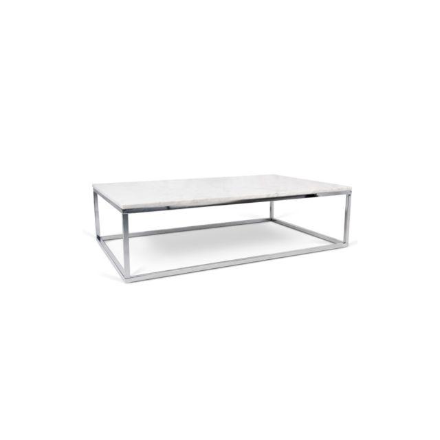 Table Basse Rectangulaire Tomar Blanc/pied chromé
