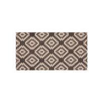 House Bay - Tapis 100% coton imprimé motif losange navajo ethnique Maha - Gris - 60x110cm