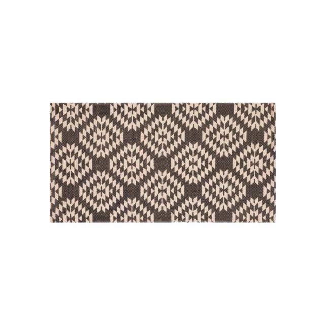 dlm tapis en coton gris ethnique motif losange 60x110cm maha pas cher achat vente tapis. Black Bedroom Furniture Sets. Home Design Ideas