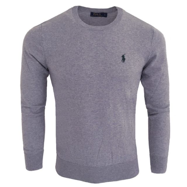 bdd3fa62596 Ralph Lauren - Pull homme Pull col rond Rf71 gris - pas cher Achat   Vente  Pull homme - RueDuCommerce