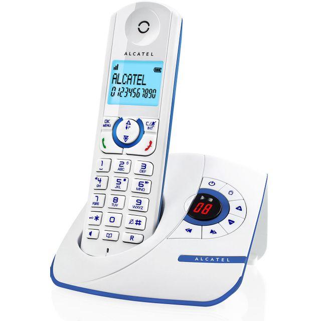 ALCATEL téléphone sans fil dect blanc/bleu avec répondeur - f390v bleu alcatel - téléphone sans fil dect blanc/bleu avec répondeur - f390v bleu Téléphone sans fil VERSATIS F390V BLEU avec répondeur raffiné et efficace ! La fonction répondeur du F390 Voice