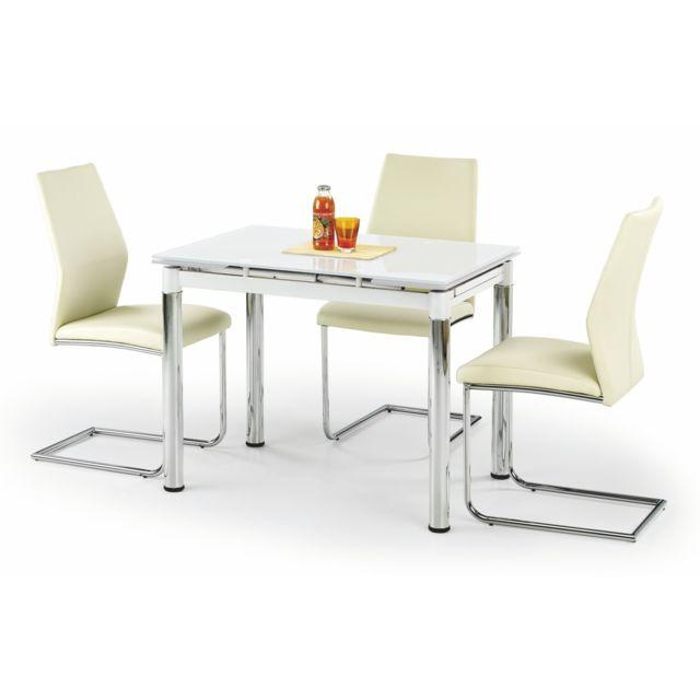 Carellia Table à manger extensible 96÷142 cm x 70 cm x 75 cm