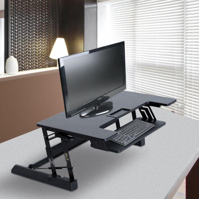 Homcom bureau assis debout station de travail sit stand - Console informatique pas cher ...
