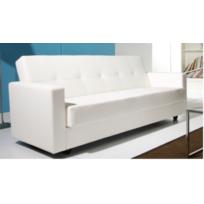 Design et Prix - Magnifique canape odin blanc convertible cuir pu+ coffre de rangement