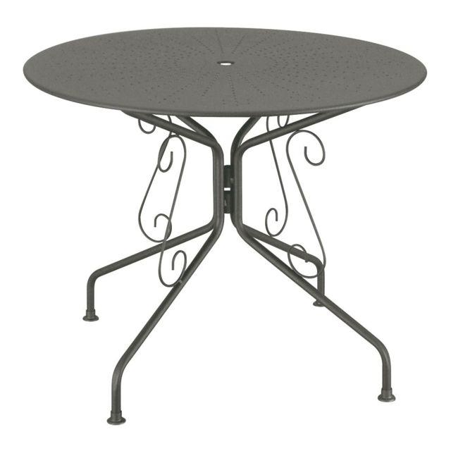 CARREFOUR - Table de jardin Romantique - Ø 95 cm - Acier - Graphite ...
