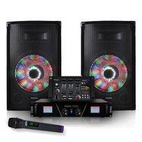 Ibiza Sound - Pack sono Enceintes Leds 2x250W + Ampli + Table de mixage + Micro sans fil Dj500LED-BT