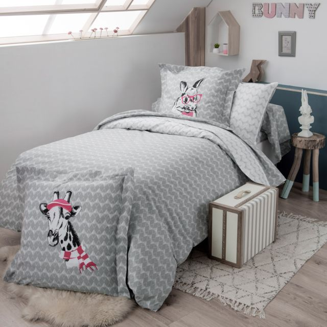 soldes linnea parure de lit 140x200 cm 100 coton bunny 2 pi ces multicolore 140cm x 200cm. Black Bedroom Furniture Sets. Home Design Ideas