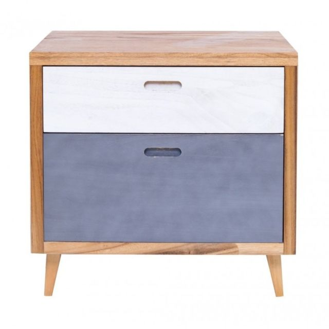 mobili rebecca table de chevet chiffonnier 2 tiroirs bois clair blanc celeste retr chambre. Black Bedroom Furniture Sets. Home Design Ideas