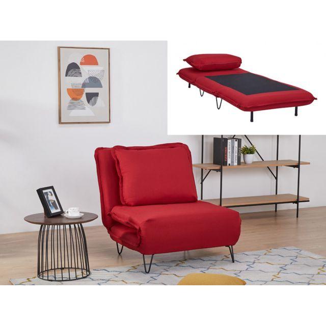 VENTE UNIQUE Fauteuil convertible en tissu LOOF Rouge