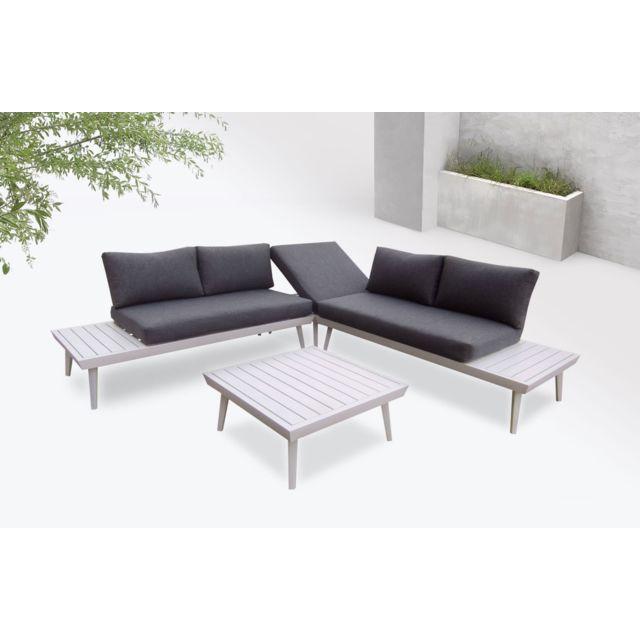Vigo - Salon de jardin en angle - 5 places - Aluminium / Composite Couleur  - Blanc / Gris