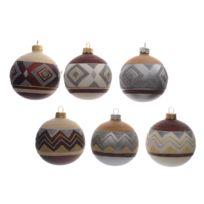 Kaemingk - Boule de noël en verre motifs navajo marasla/argent/crème - Coffret de 6 Bohemian Christmas