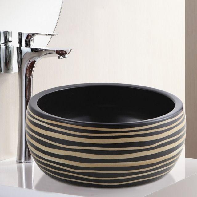 vasque noir a poser Rue Du Bain - Vasque à Poser Ronde - Céramique rainurée Noir et Caramel - 40