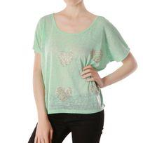 Lamodeuse - T-shirt cœur et strass métallisé vert