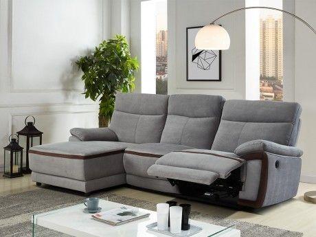 info pour 272cf 8aa5a Canapé d'angle relax électrique en tissu PROVO - Gris et bandes chocolats -  Angle gauche