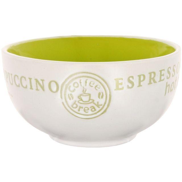 Promobo Bol à Soupe Coffee Break Expresso Cappucinno 400ml Vert