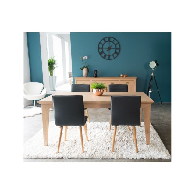 HELLIN Table rectangulaire avec allonges FABRIC - Coloris Amande