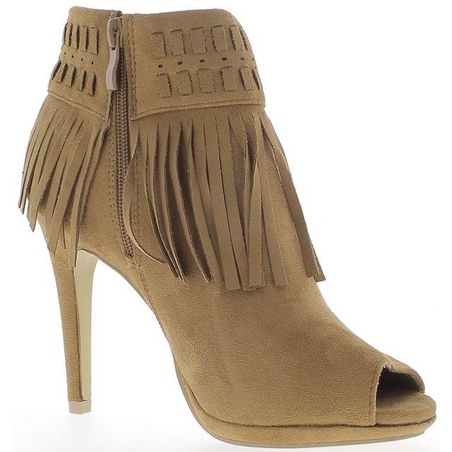 chaussmoi bottines femme camel talons fins de 10 5cm ouvertes look daim et franges pas cher. Black Bedroom Furniture Sets. Home Design Ideas