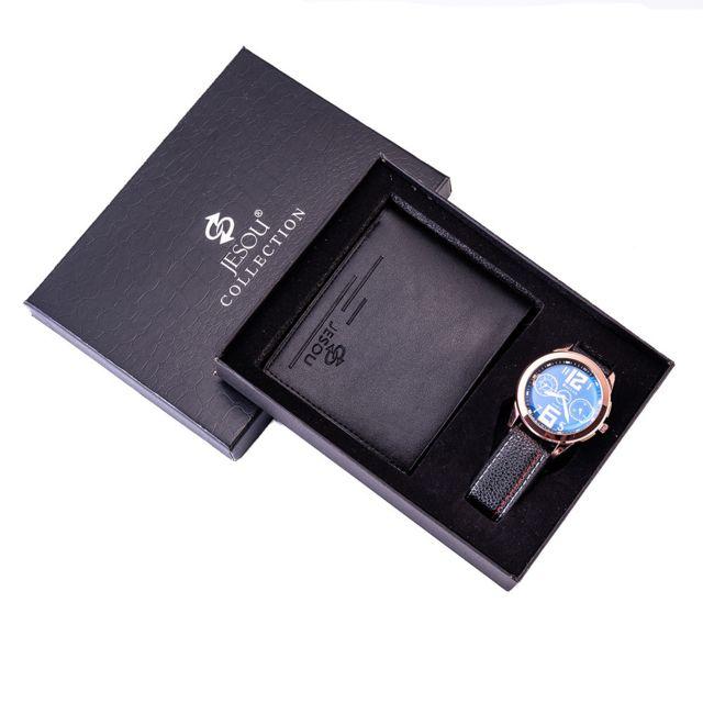 rmega rmegao coffret cadeau de luxe montre homme portefeuille quartz etanche