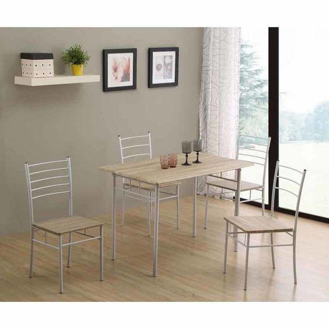 Marque Generique Ensemble table à manger rectangle métal et bois Longueur 110cm + 4 chaises Midi - Pied blanc / Plateau chêne grisé