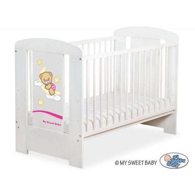 Lit bébé bonne nuit rose + matelas blanc