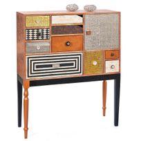 Comforium - Commode 90 cm style vintage en bois massif avec 10 tiroirs structure coloris bois