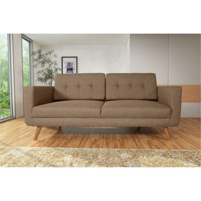 Rocambolesk Canapé Hedvig 3 savana 25 brun pieds naturels sofa divan