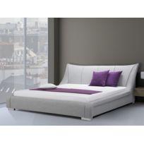 Beliani - Lit design en tissu - lit double 160x200 cm - gris - sommier inclus - Nantes