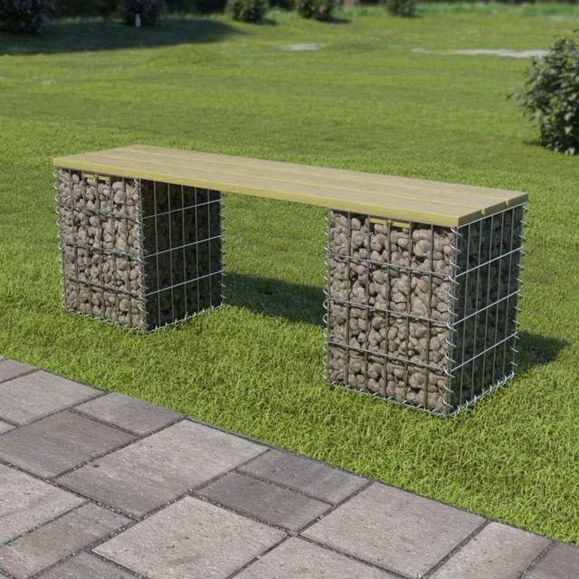 Chic Sièges de jardin collection Buenos Aires Banc de gabion 120 cm Acier galvanisé et pinède FSC