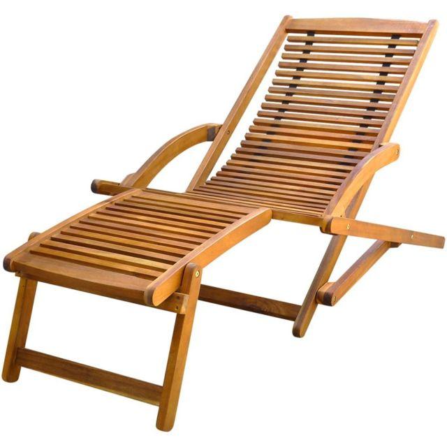 Repose Chaise Terrasse Avec Pied Bois D'acacia Solide De J5KcTFl13u