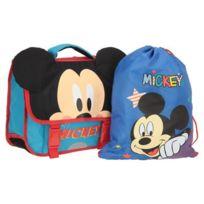 Aucune - Mickey Cartable + Sac de Gym Offert - 1 Compartiment - 6 a 9 ans - Classe primaire et élémentaire - 35cm - Bleu - Enfant Garçon