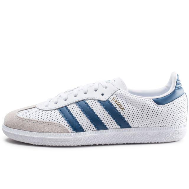 Adidas Samba Og Blanche Et Bleue Junior pas cher Achat