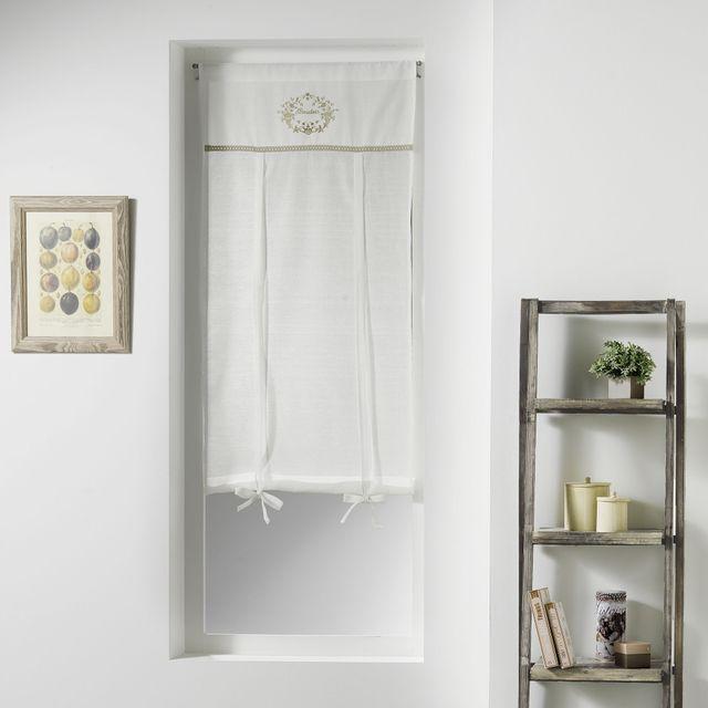 Couleur Montagne Cdaffaires Store droit passe tringle 60 x 150 cm voile+top brode romantique boudoir Naturel