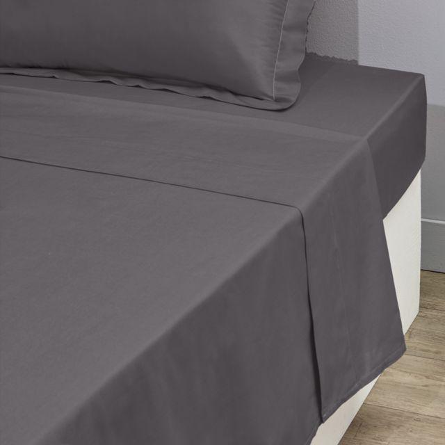 tex home drap plat uni en coton gris fonc 180cm x 300cm pas cher achat vente draps. Black Bedroom Furniture Sets. Home Design Ideas