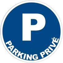 - panneau signalétique en pvc rond adhésif - parking privé