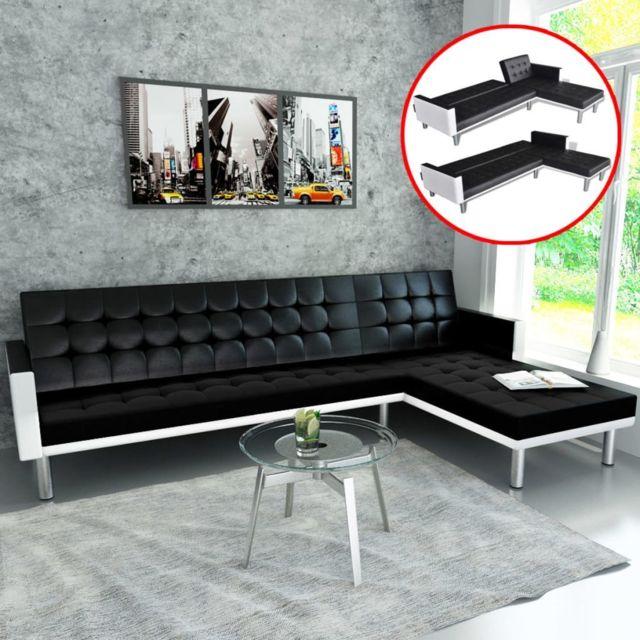 Joli Meubles famille Berne Canapé-lit d'angle Cuir synthétique Noir