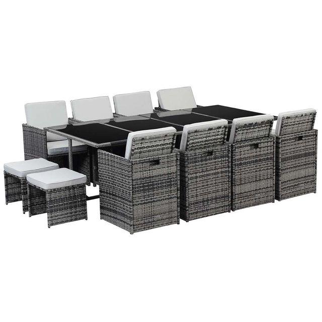 habitat et jardin salon de jardin en r sine tress e chicago 8 2 poufs florida gris pas. Black Bedroom Furniture Sets. Home Design Ideas