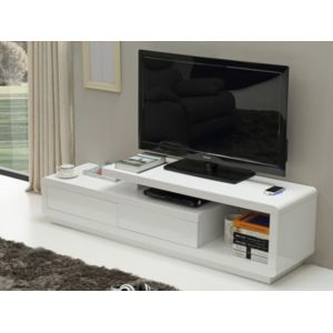 Vente unique meuble tv artaban mdf laqu blanc for Meuble chargeur induction