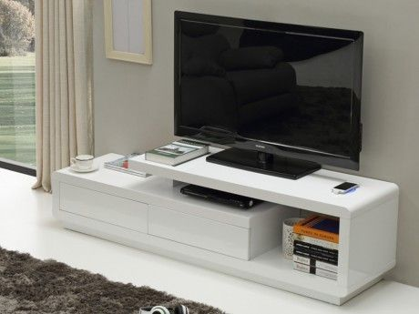 Vente-unique Meuble Tv Artaban - Mdf laqué blanc - Chargeur sans fil intégré