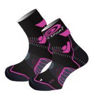 Bv Sport - Socquettes Trail Evolution Stx Femina Noires Et Roses Chaussettes Trail